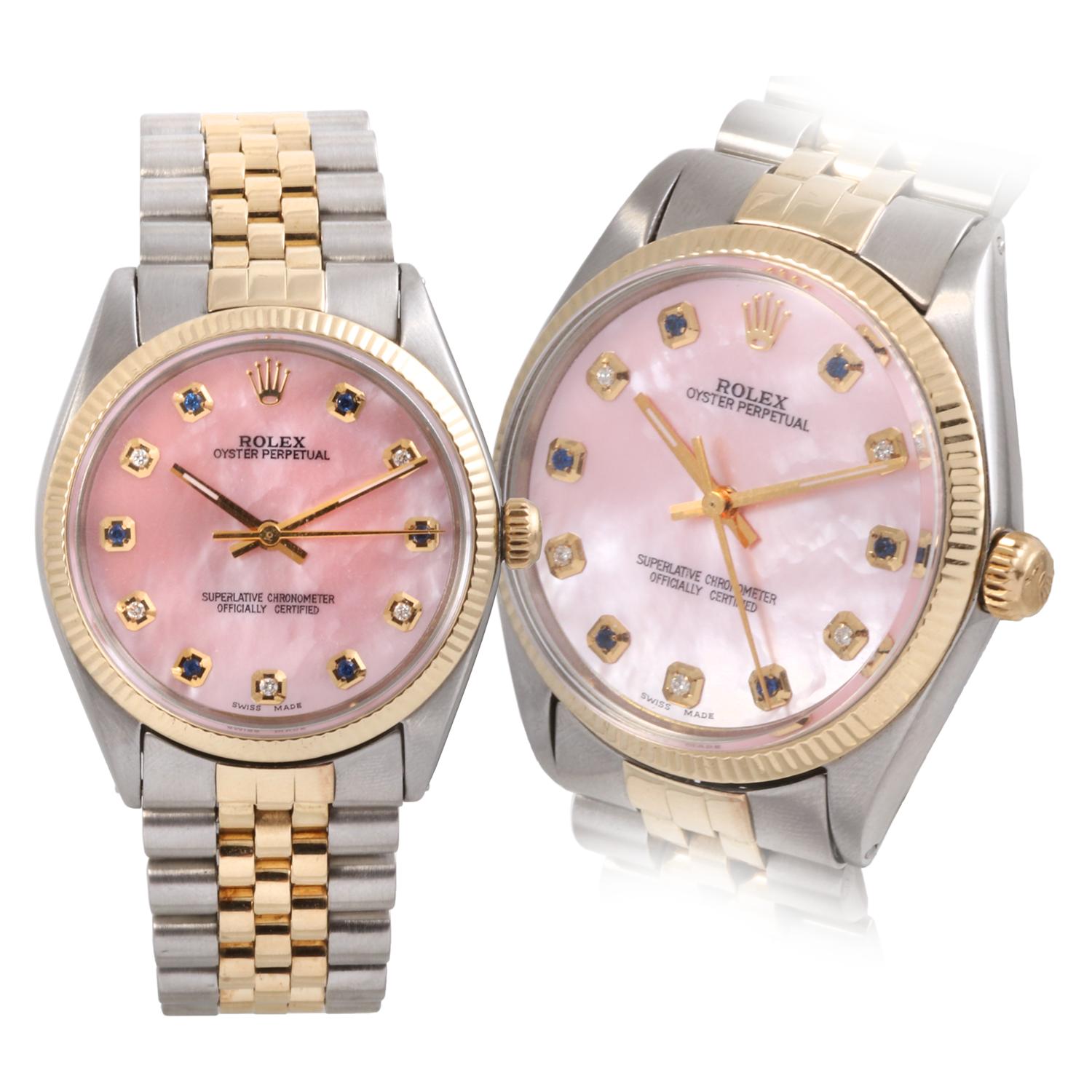 Rolex Two Tone 34mm Oyster Perpetual - Pink Mother of Pearl Alternating Sapphire & Diamond Dial - Fluted Bezel On A Jubilee Band
