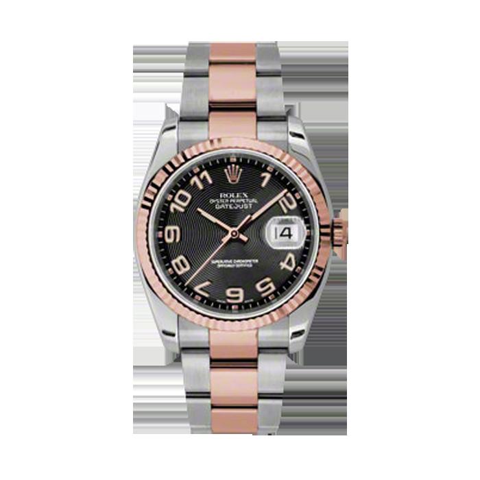 Rolex Mens 18K Two Tone Rose Gold Datejust -Black Concentric Arabic Dial - Fluted Bezel - Oyster Bracelet 36 MM 116231