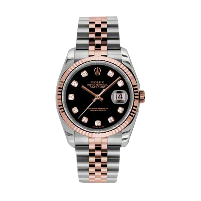 Rolex Mens 18K Two Tone Rose Gold Datejust - Black Diamond Dial - 18K Fluted Bezel - Jubilee Bracelet 36 MM 116231