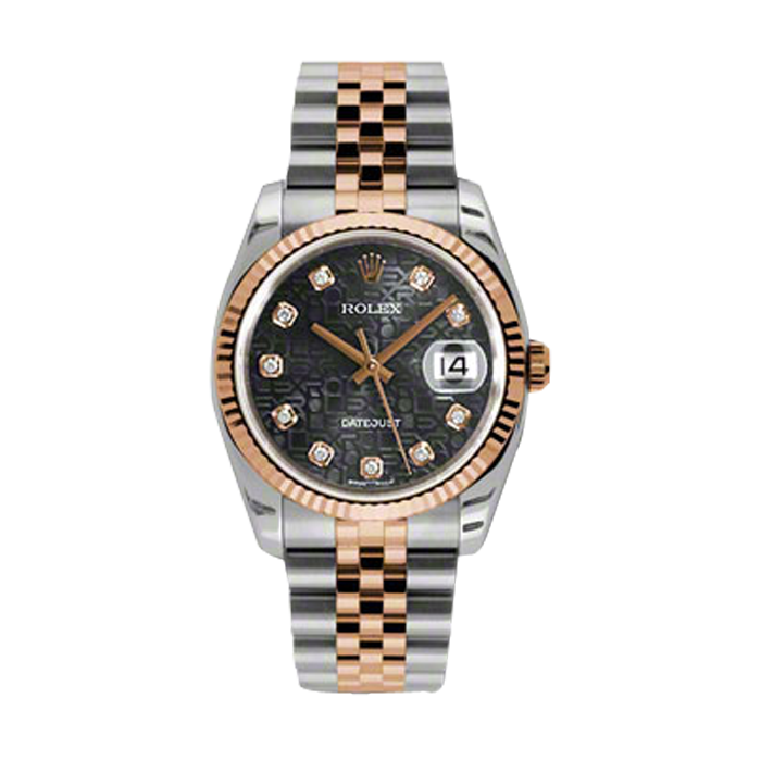 Rolex Mens 18K Two Tone Rose Gold Datejust - Black Jubilee Diamond Dial - 18K Fluted Bezel - Jubilee Bracelet 36 MM 116231