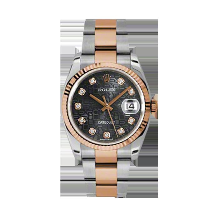 Rolex Mens 18K Two Tone Rose Gold Datejust - Black Jubilee Diamond Dial - Fluted Bezel - Oyster Bracelet 36 MM 116231