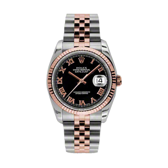 Rolex Mens 18K Two Tone Rose Gold Datejust - Black Roman Dial - 18K Fluted Bezel - Jubilee Bracelet 36 MM 116231