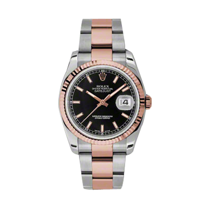 Rolex Mens 18K Two Tone Rose Gold Datejust - Black Index Dial - Fluted Bezel - Oyster Bracelet 36 MM 116231