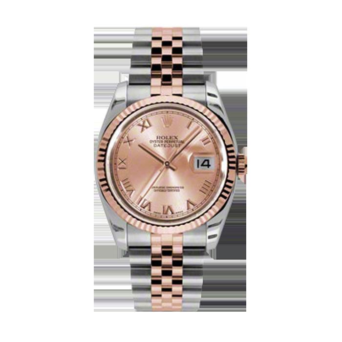 Rolex Mens 18K Two Tone Rose Gold Datejust -Pink Champagne Roman Dial - 18K Fluted Bezel - Jubilee Bracelet 36 MM 116231