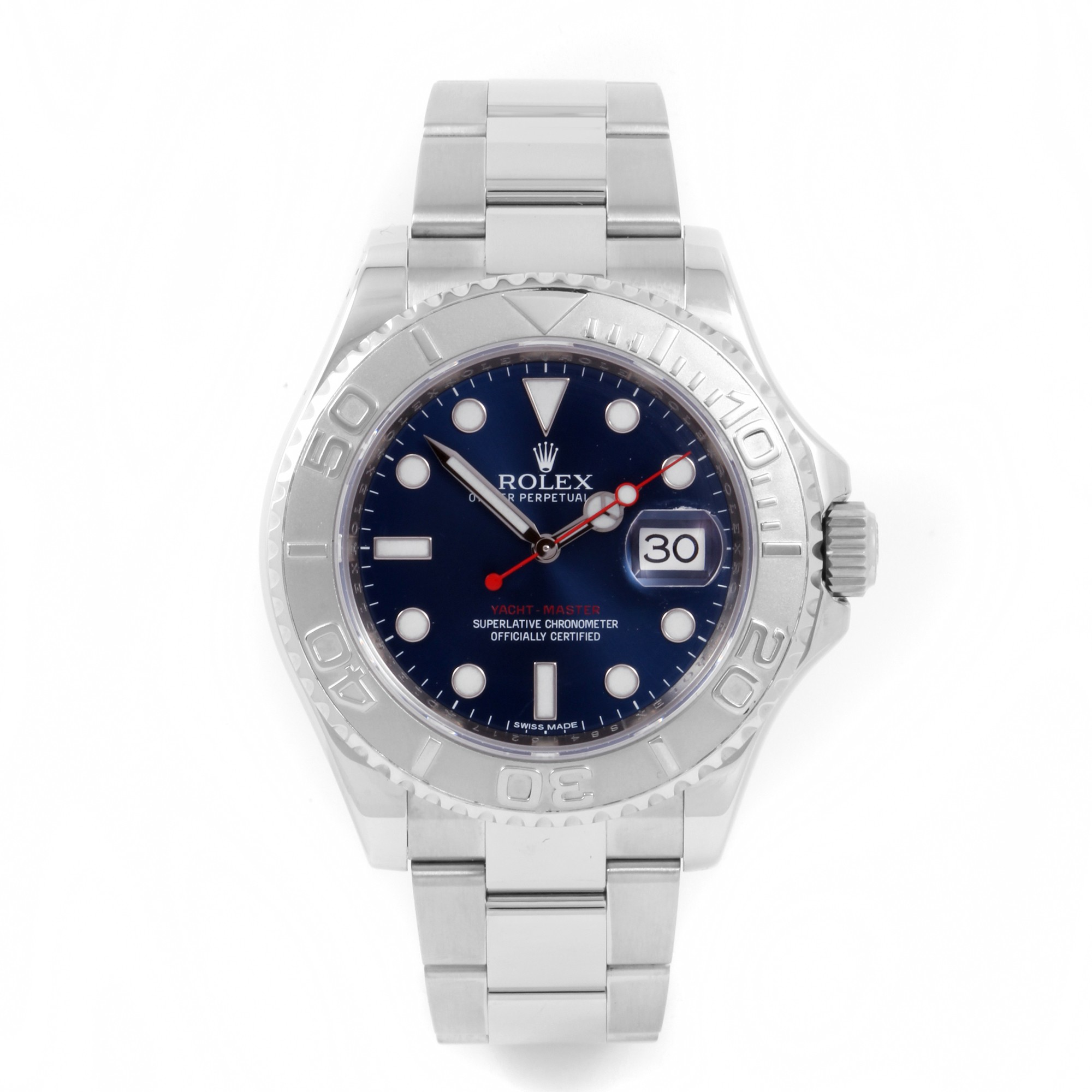 Rolex Mens Yachtmaster - 116622 Yachtmaster - Blue Dial - Platinum Bezel - Oyster Band