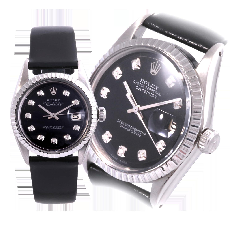 Rolex Men's Stainless Steel Datejust - Custom Black Diamond Dial - Engine Turn Bezel
