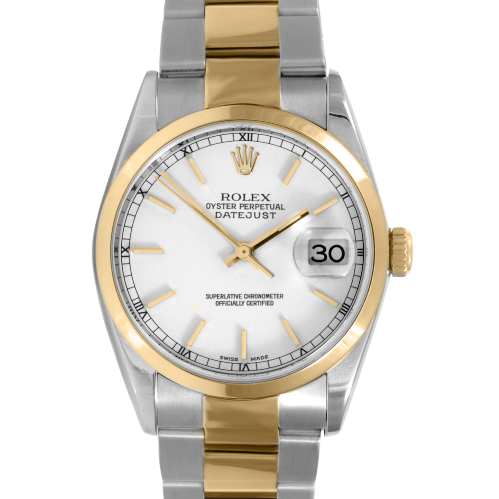rolex mens two tone datejust white stick dial smooth. Black Bedroom Furniture Sets. Home Design Ideas
