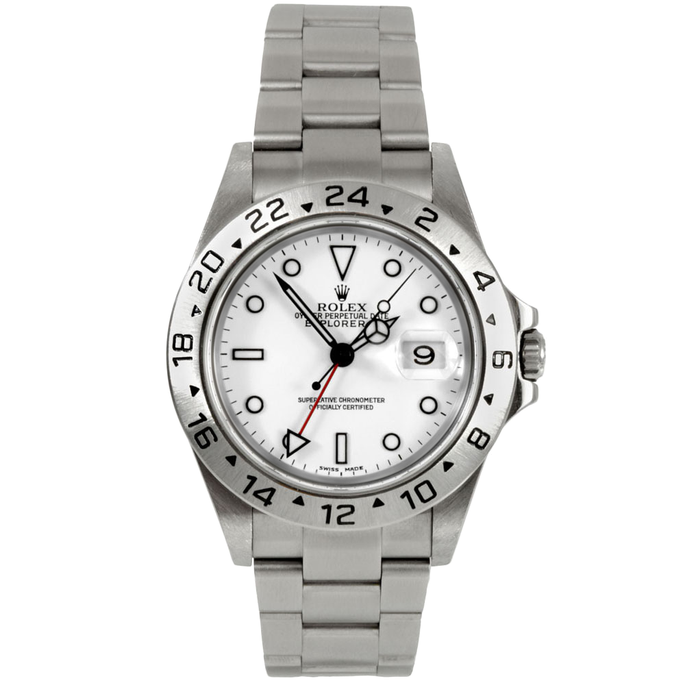 Rolex Mens Explorer II - Stainless Steel White Dial 16570 40MM 2000s Model