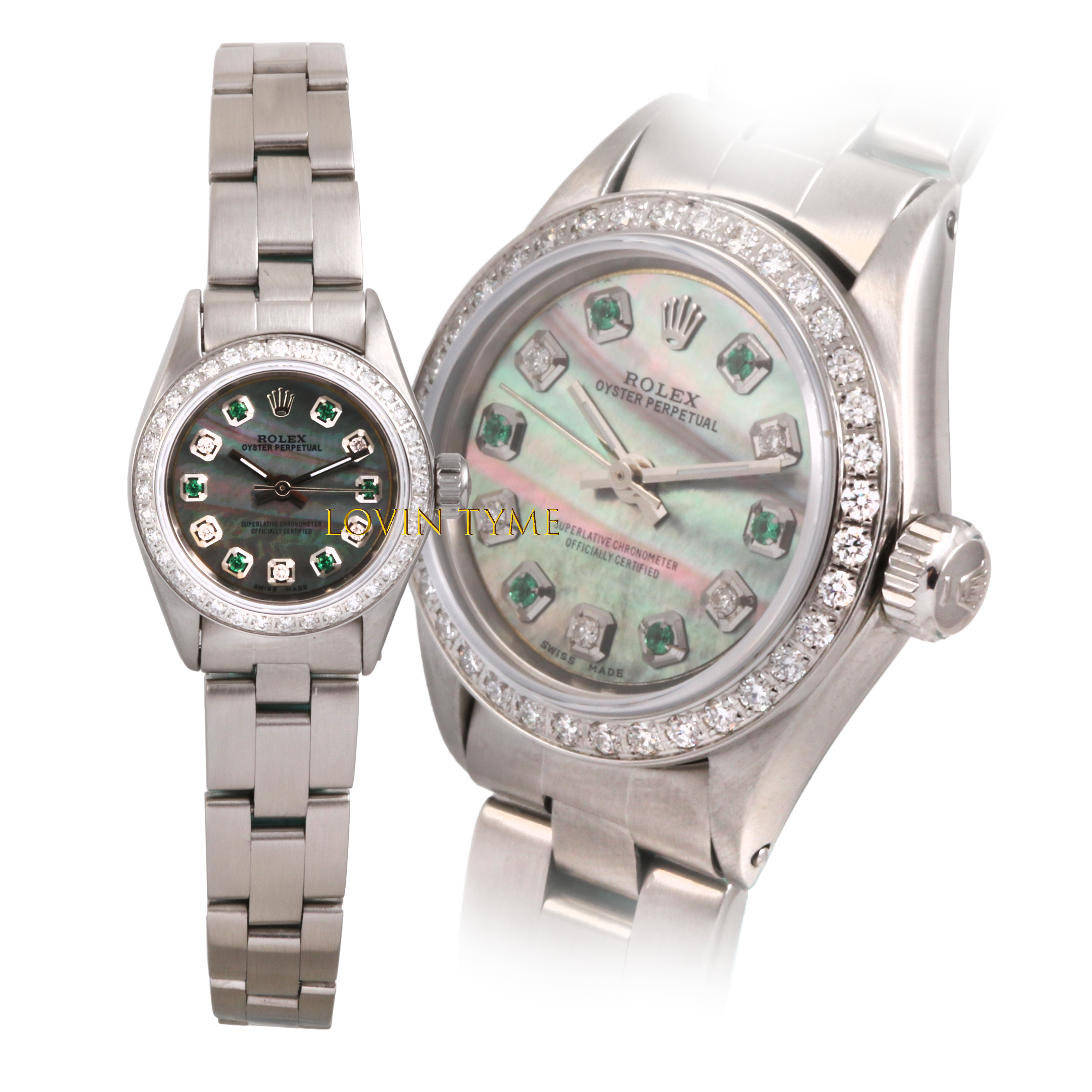 Rolex Ladies Stainless Steel Oyster Perpetual - Custom Tahitian Mother of Pearl Alternating Emerald & Diamond Dial - Diamond Bezel