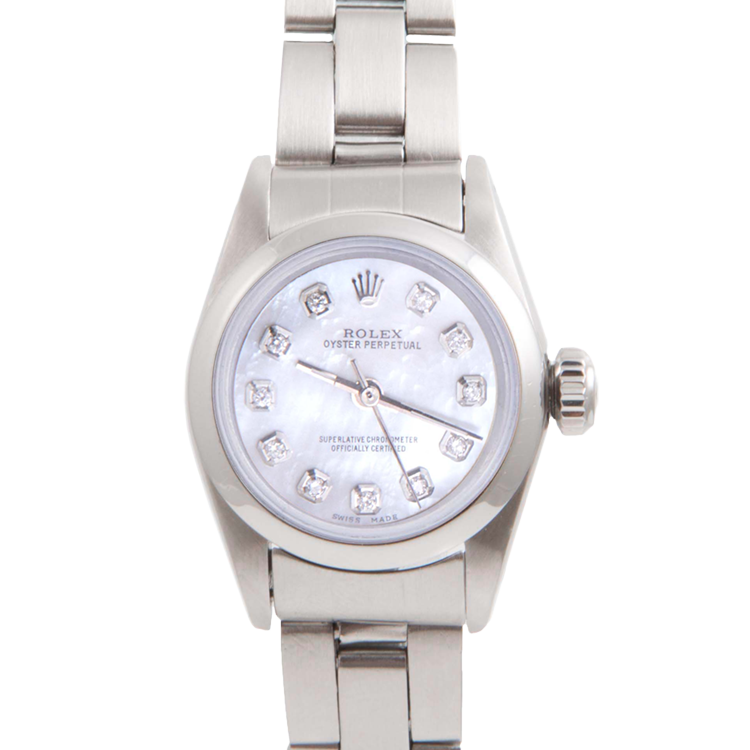Rolex Ladies Oyster Perpetual No Date Stainless Steel - Custom Mother of Pearl Diamond Dial And Smooth Bezel On An Oyster Band