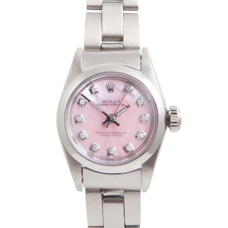 Rolex Ladies Oyster Perpetual No Date Stainless Steel - Custom Pink Mother of Pearl Diamond Dial And Smooth Bezel On An Oyster Band