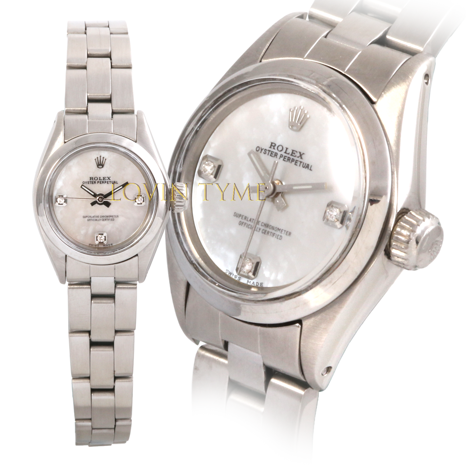 Rolex Ladies Stainless Steel Oyster Perpetual - Custom Mother of Pearl 3 Stone Diamond Dial - Smooth Bezel