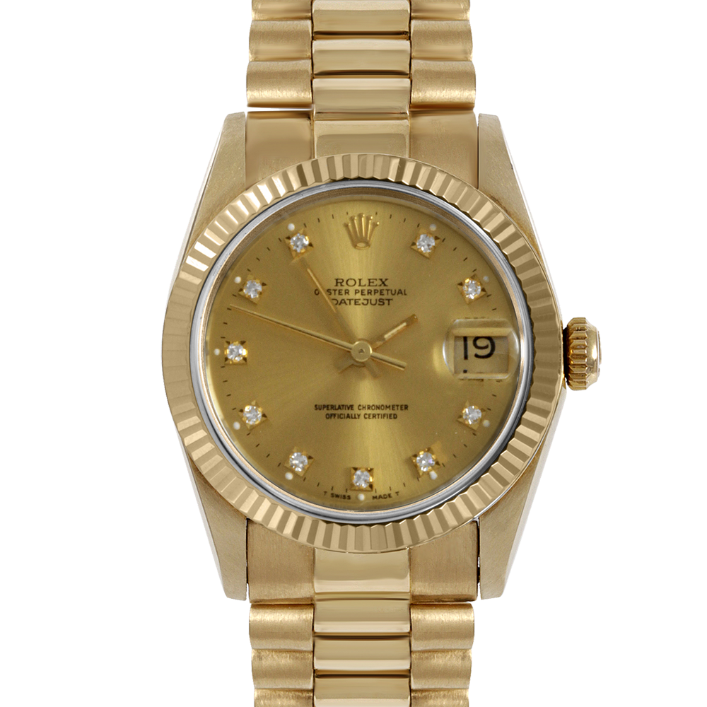 Rolex Yellow Gold President - Factory Champagne Diamond Dial - Fluted Bezel