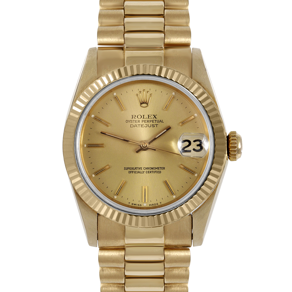 Rolex Yellow Gold President - Champagne Stick Marker Dial - Fluted Bezel