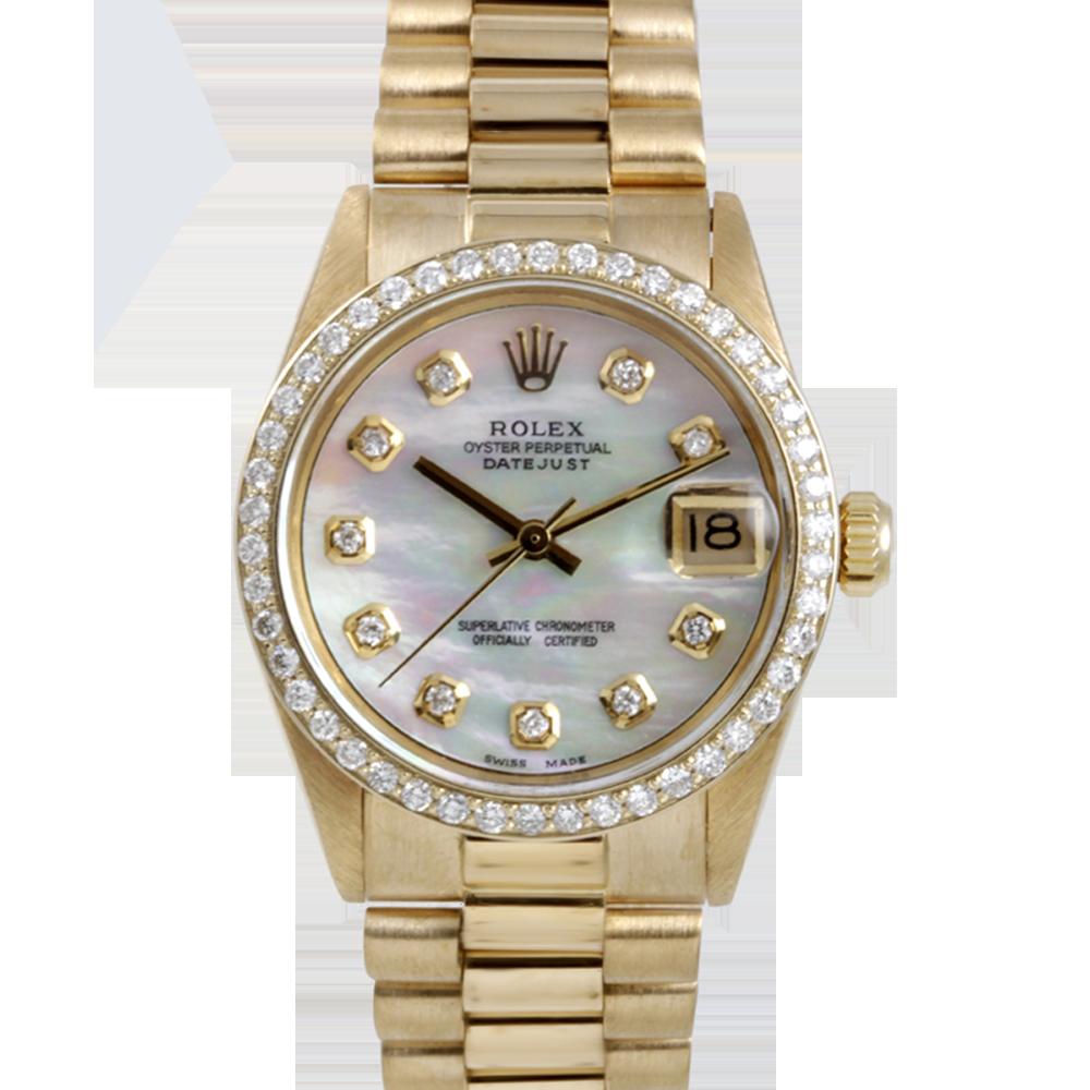 Rolex Yellow Gold President - with Custom Mother Of Pearl Diamond Dial - Diamond Bezel