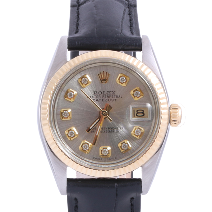 Pre-Owned Rolex Two Tone Midsize Datejust - Silver Diamond Dial & Fluted Bezel On A Leather Band Non-Quickset Model