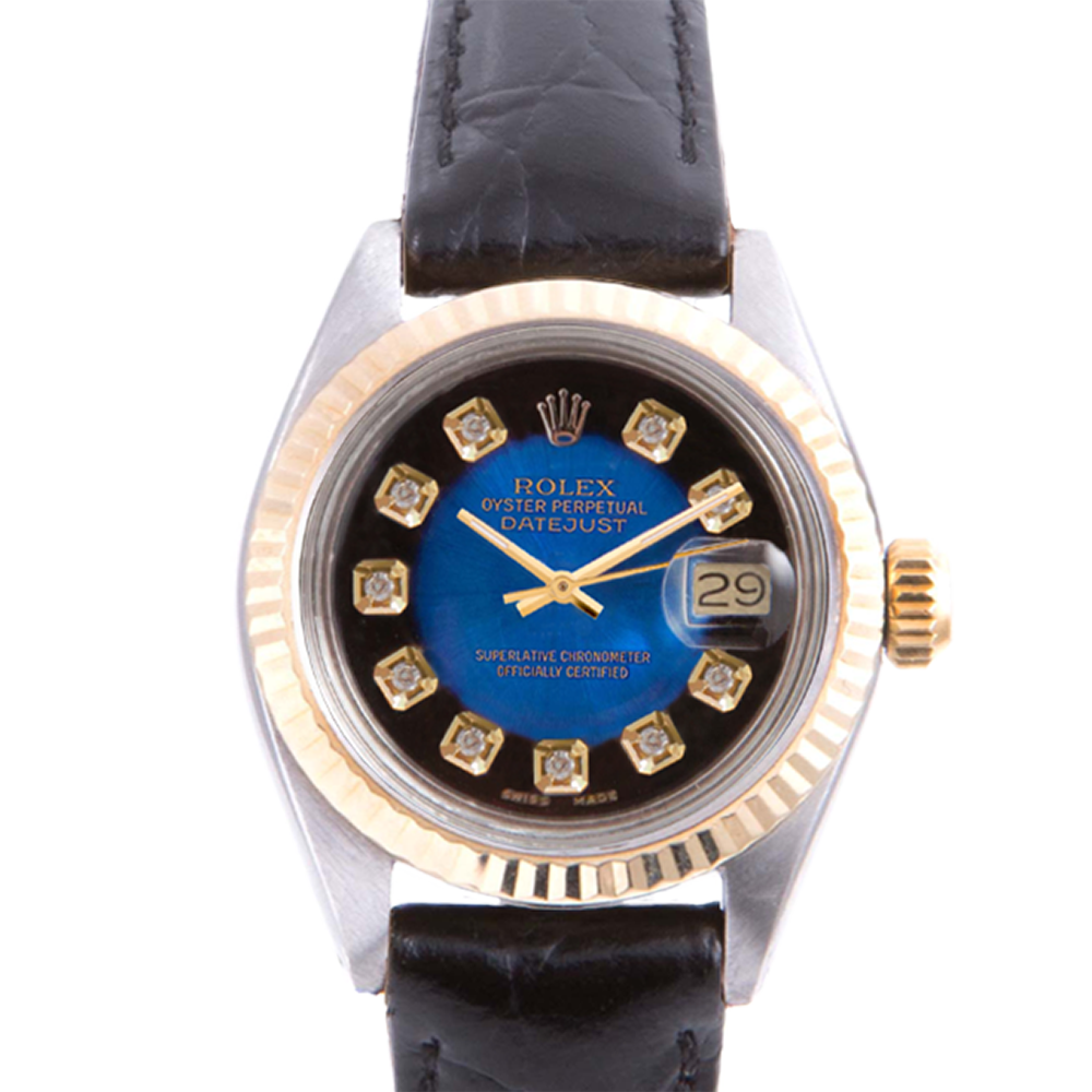 Pre-owned Rolex Ladies Two Tone Datejust - With A Blue Vignette Diamond Dial and Fluted Bezel On A Black Leather Band Model 6917