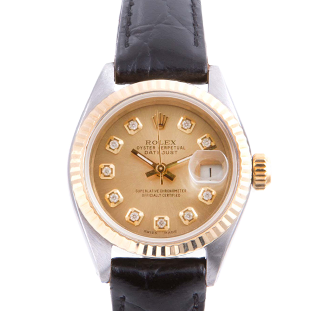 Pre-owned Rolex Ladies Two Tone Datejust - With A Champagne Diamond Dial and Fluted Bezel On A Black Leather Band Model 6917