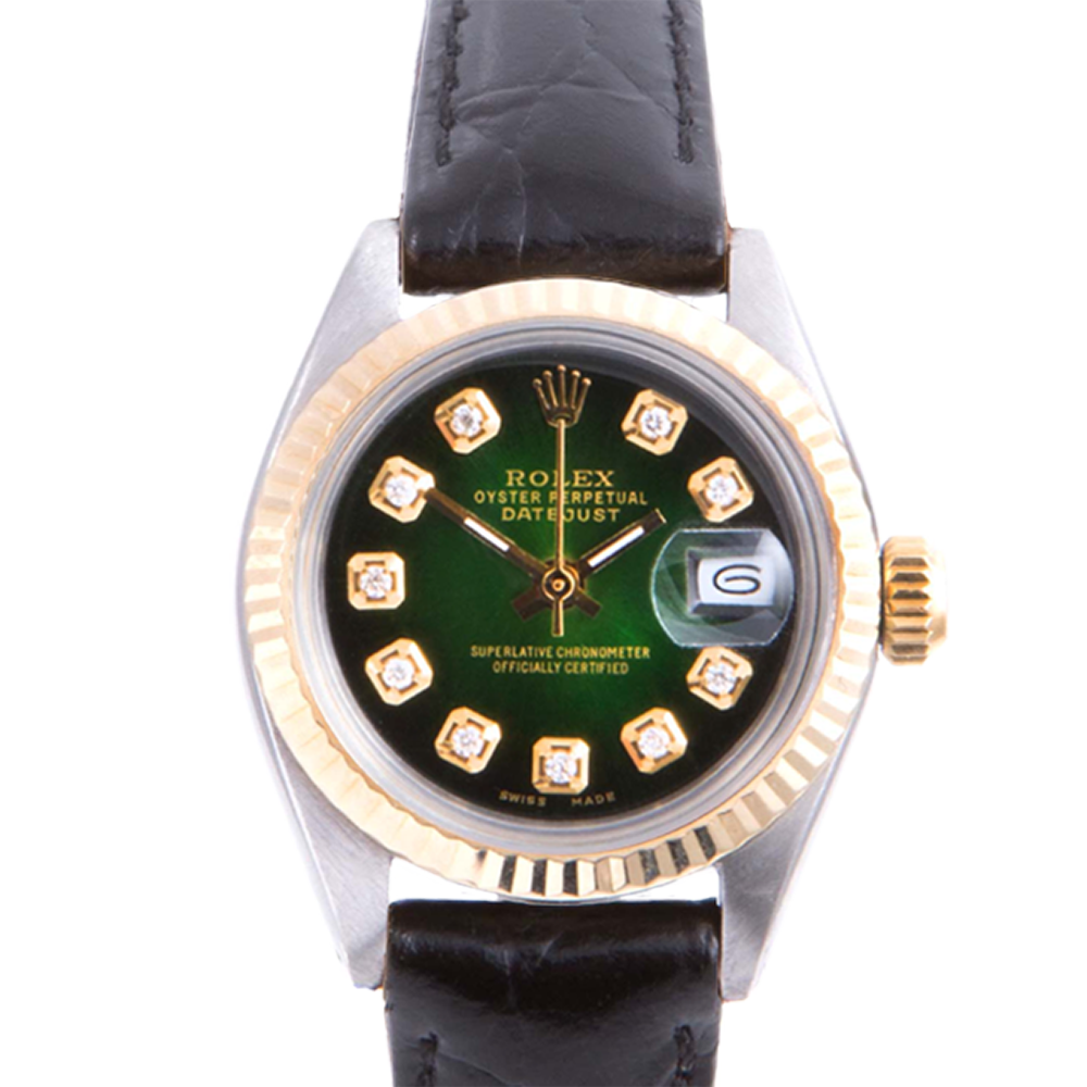 Pre-owned Rolex Ladies Two Tone Datejust - With A Green Vignette Diamond Dial and Fluted Bezel On A Black Leather Band Model 6917