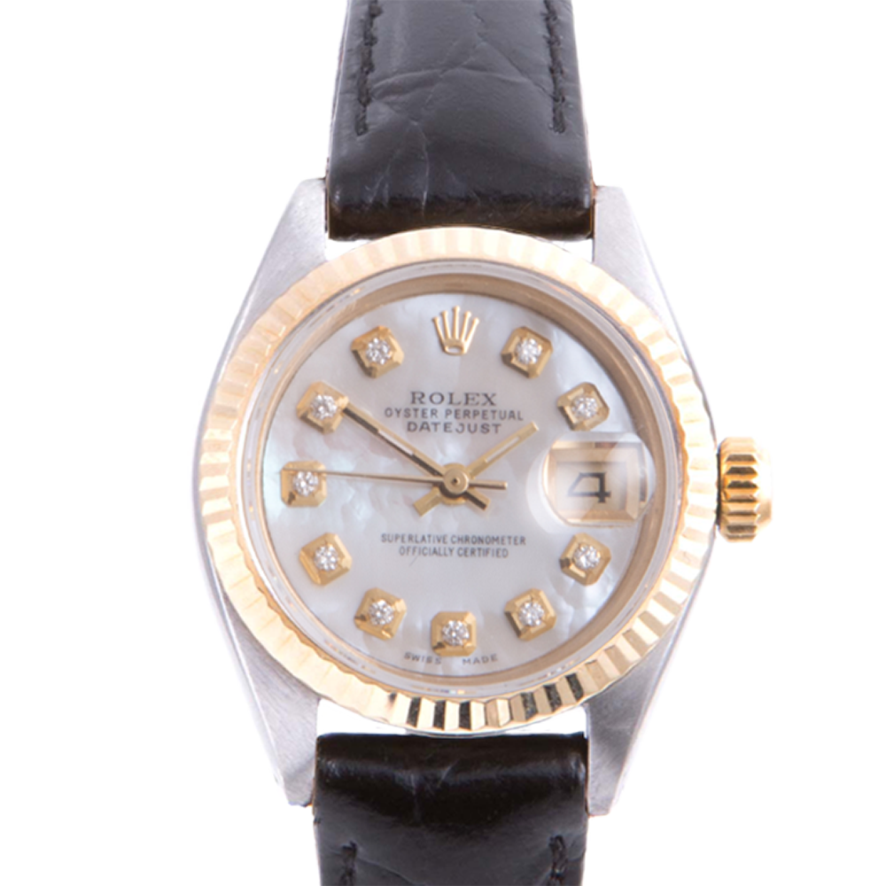 Pre-owned Rolex Ladies Two Tone Datejust - With A Mother of Pearl Diamond Dial and Fluted Bezel On A Black Leather Band Model 6917