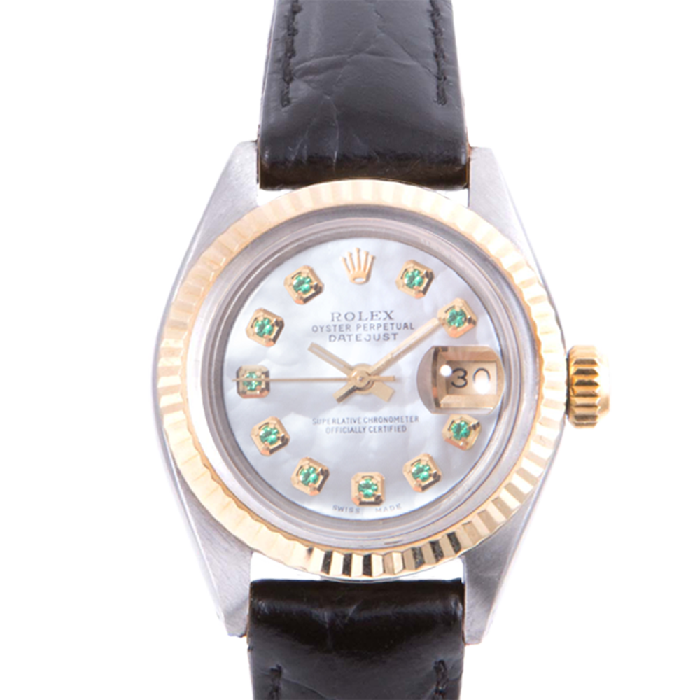 Pre-owned Rolex Ladies Two Tone Datejust - With A Mother of Pearl Emerald Dial and Fluted Bezel On A Black Leather Band Model 6917