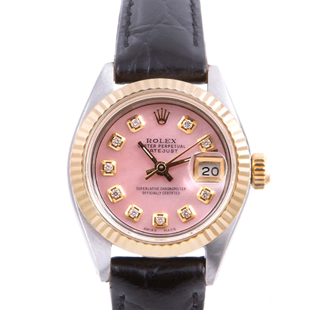 Pre-owned Rolex Ladies Two Tone Datejust - With A Pink Diamond Dial and Fluted Bezel On A Black Leather Band Model 6917