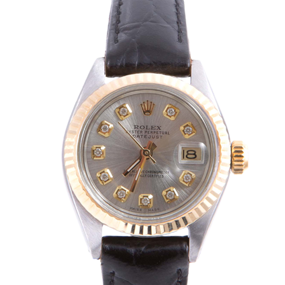 Pre-owned Rolex Ladies Two Tone Datejust - With A Silver Diamond Dial and Fluted Bezel On A Black Leather Band Model 6917
