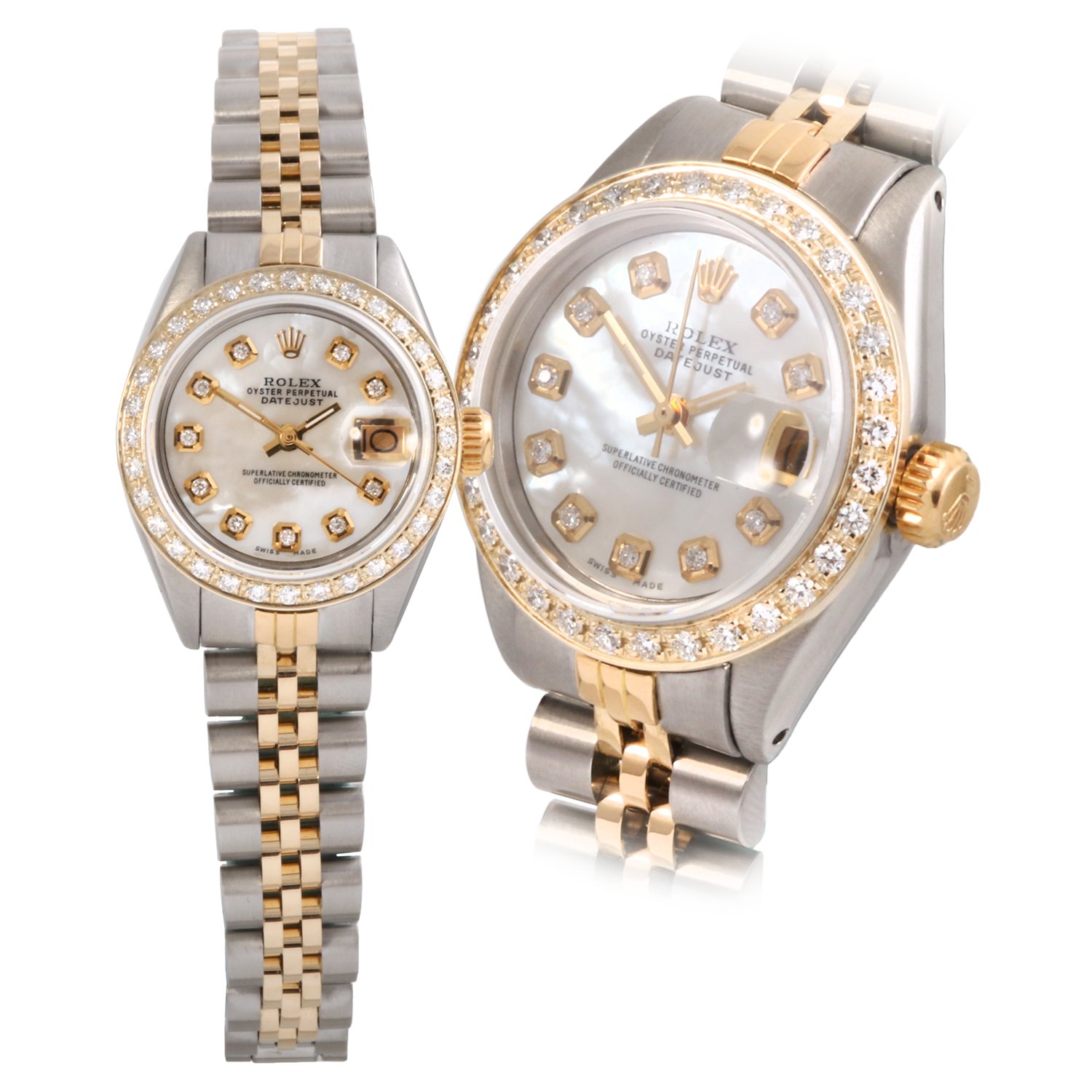 Rolex Ladies Two Tone Datejust - Mother Of Pearl Diamond Dial & Diamond Bezel On A Jubilee Band 6917 Model