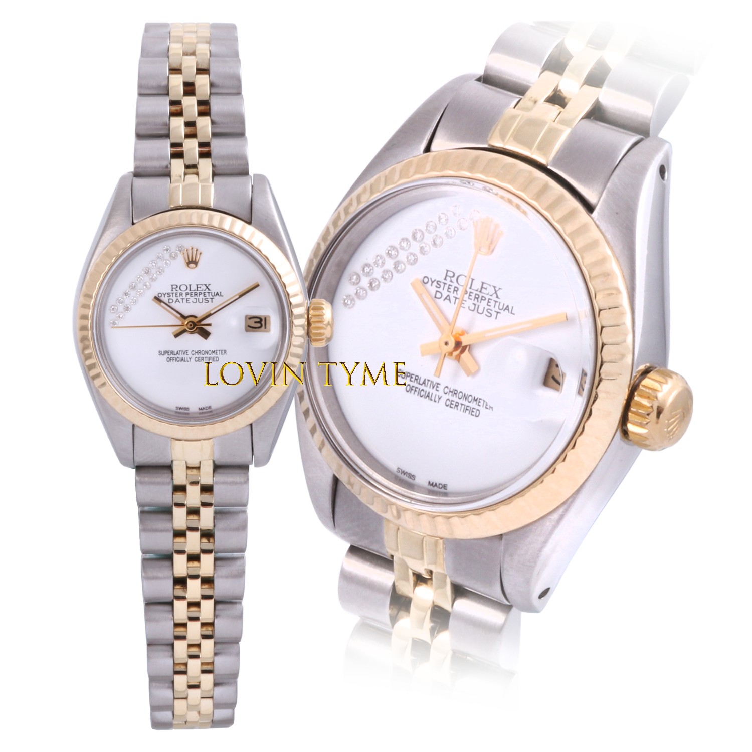Rolex Ladies Two Tone Datejust - With A Custom White Gift Wrap Diamond Dial Fluted Bezel - Jubilee Band Model 6917