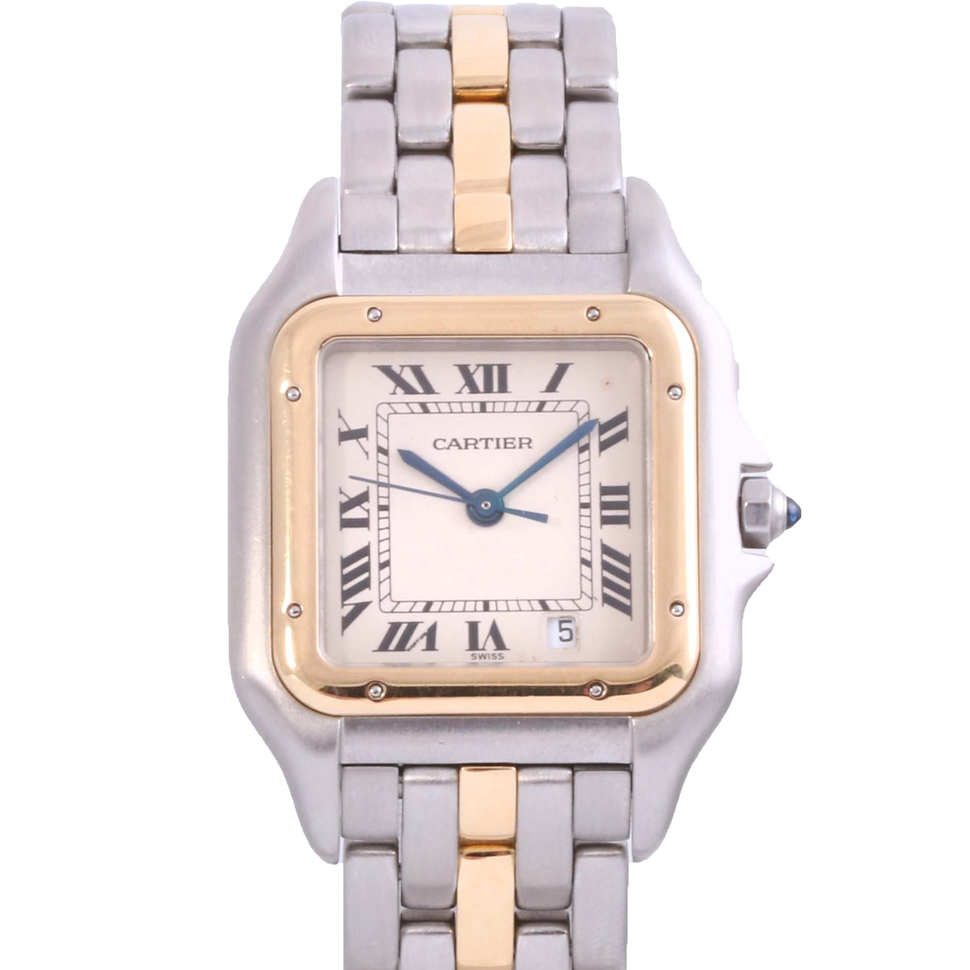 Original Cartier Ladies Two Tone Panthere Single Row with a White Roman Dial