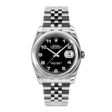 Rolex Mens Datejust - Stainless Steel Black Arabic Dial - Domed/Smooth Bezel - Jubilee Bracelet 36 MM 116200