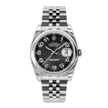 Rolex Mens Datejust - Stainless Steel Black Concentric Arabic Dial - Domed/Smooth Bezel - Jubilee Bracelet 36 MM 116200