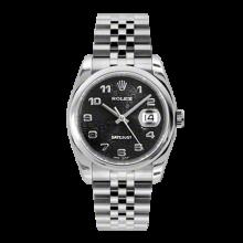 Rolex Mens Datejust - Stainless Steel Black Jubilee Arabic Dial - Domed/Smooth Bezel - Jubilee Bracelet 36 MM 116200