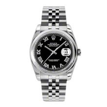 Rolex Mens Datejust - Stainless Steel Black Roman Dial - Domed/Smooth Bezel - Jubilee Bracelet 36 MM 116200