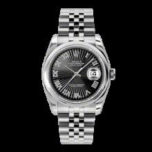 Rolex Mens Datejust - Stainless Steel Black Sunbeam Roman Dial - Domed/Smooth Bezel - Jubilee Bracelet 36 MM 116200