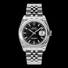 Rolex Mens Datejust - Stainless Steel Black Index Dial - Domed/Smooth Bezel - Jubilee Bracelet 36 MM 116200