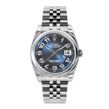 Rolex Mens Datejust - Stainless Steel Blue Arabic Dial w/ Black Ring - Domed/Smooth Bezel - Jubilee Bracelet 36 MM 116200