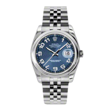 Rolex Mens Datejust - Stainless Steel Blue Concentric Arabic Dial - Domed/Smooth Bezel - Jubilee Bracelet 36 MM 116200