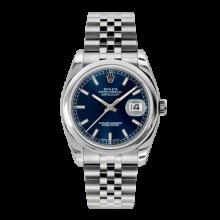 Rolex Mens Datejust - Stainless Steel Blue Index Dial - Domed/Smooth Bezel - Jubilee Bracelet 36 MM 116200