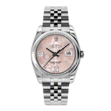 Rolex Mens Datejust - Stainless Steel Pink Floral Arabic Dial - Domed/Smooth Bezel - Jubilee Bracelet 36 MM 116200