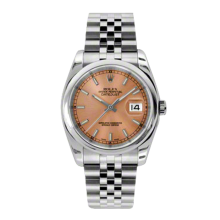 Rolex Mens Datejust - Stainless Steel Pink Index Dial - Domed/Smooth Bezel - Jubilee Bracelet 36 MM 116200