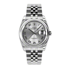 Rolex Mens Datejust - Stainless Steel Rhodium Roman Dial - Domed/Smooth Bezel - Jubilee Bracelet 36 MM 116200