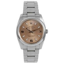 Rolex Mens Airking - Stainless Steel With A Copper Arabic Dial Smooth Bezel 114200