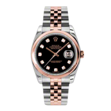 Rolex Mens 18K Two Tone Rose Gold Datejust - Black Diamond Dial - Domed/ Smooth Bezel - Jubilee Bracelet 36 MM 116201
