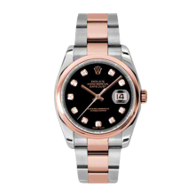 Rolex Mens 18K Two Tone Rose Gold Datejust - Black Diamond Dial - Domed/ Smooth Bezel - Oyster Bracelet 36 MM 116201