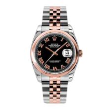 Rolex Mens 18K Two Tone Rose Gold Datejust - Black Roman Dial - Domed/ Smooth Bezel - Jubilee Bracelet 36 MM 116201