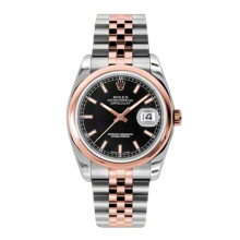 Rolex Mens 18K Two Tone Rose Gold Datejust - Black Index Dial - Domed/ Smooth Bezel - Jubilee Bracelet 36 MM 116201