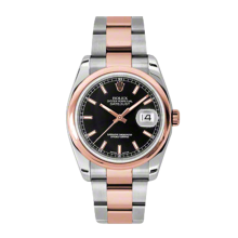 Rolex Mens 18K Two Tone Rose Gold Datejust - Black Index Dial - Domed/ Smooth Bezel - Oyster Bracelet 36 MM 116201