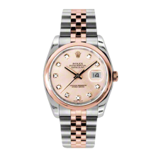 Rolex Mens 18K Two Tone Rose Gold Datejust -Pink Champagne Diamond Dial - Domed/ Smooth Bezel - Jubilee Bracelet 36 MM 116201