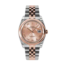 Rolex Mens 18K Two Tone Rose Gold Datejust -Pink Champagne Roman Dial - Domed/ Smooth Bezel - Jubilee Bracelet 36 MM 116201